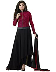 Vh Fashion Drashti Dhami Red And Black Embroidered Semi Stitched Long Anarkali Suit With Exclusive Designer Jacket