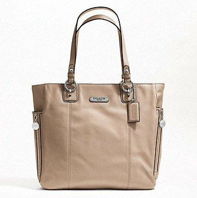 Coach   Coach 19456 Smooth Leather Gallery North South Zip Tote Putty Handbag