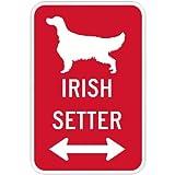 IRISH SETTER マグネットサイン レッド:アイリッシュセッター(小) シルエットイラスト&矢印 英語標識デザイン Water Resistant&UV Coat U.S.A Design