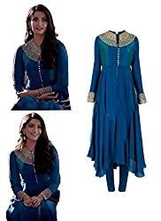 Stutti Fashion Designer Blue Color Embroidered Semi-stitched Salwar Suit Dress Material