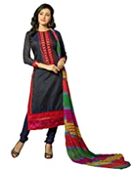 Surat Tex Navy Blue Color Embroidered Chanderi Cotton Un-Stitched Dress Material