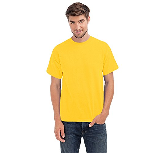 hanes-beefy-t-mens-cotton-crew-neck-tagless-top-yellow-m