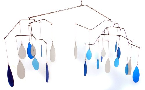 Blue Handworks Glass Raindrops Mobile Yard Art (Art Mobiles compare prices)