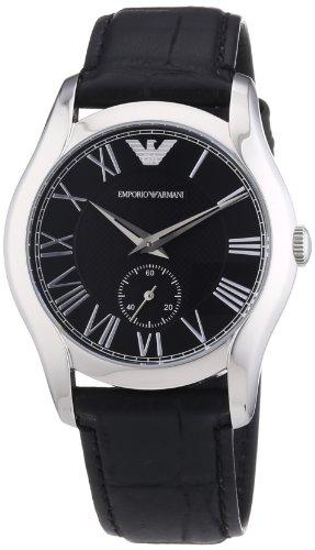 Emporio Armani AR1708 - Reloj de pulsera unisex, piel, color negro