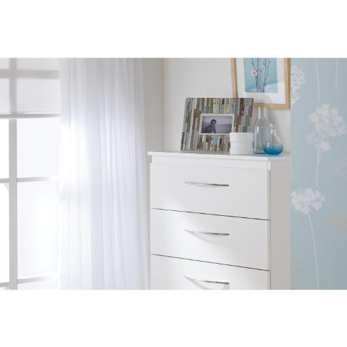 WorldStores Alaska 6 Drawer Chest of Drawers - 6 Large Drawers - Large Tall Bedroom Furniture - WHITE FINISH