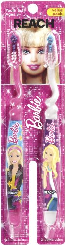 Reach Barbie Soft Toothbrush, 4 Total (2 Packs of 2) - 1