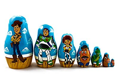 Matryoshka Russian Nesting Wooden Doll Toy Story Cartoon 7 Pcs Set Funny Decorative Stacking Hand Painting Beautiful Nested Great Gift Craft