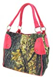 Camouflage Bucket Purse Pink Trim Camo Canvas Hobo Bag