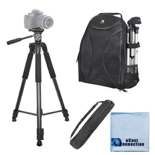 75 Inch Elite Series Full Size Camera Tripod + Bp Slr Backpack For Jvc Everio Gz-Ex310, Gz-Ex355, Gz-Ex515, Gz-Ex555, Gz-Vx815,Gz-Hd520, Gv-Ls1, Gc-Px100 & More... + Microfiber Cloth