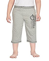 Punkster Cotton Solid Grey Melange 3/4Th For Boys_14-15 Years