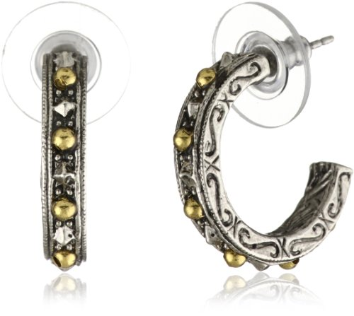 1928 Jewelry Silver Tone Brass Dotted Half Hoop Earrings