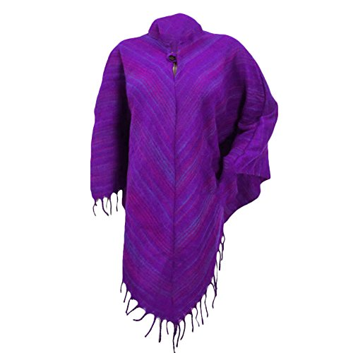 Boho Clothing Poncho With Hood Wool Blend Winter Wear Purple Women Plus Size