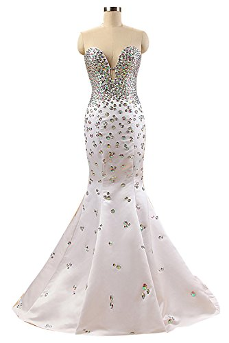 c24a734a7fd Sunvary Gorgeous Rhinestone Mermaid Satin Formal Prom Dresses Long Wedding  Reception Gowns Dance- US Size 2- White
