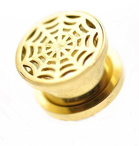 Pair Flesh Tunnel -Plug- Ion Plated Gold Color Spiders Web Design Sold As A Pair 12Mm