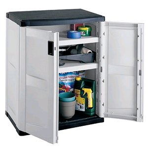 Suncast in. x in. 3-Shelf Resin Tall Storage Cabinet in
