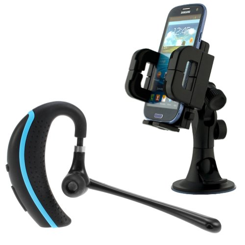 Ikross Wireless Bluetooth Handsfree Headset With Boom Microphone + Car Windshield Mount Holder For Apple Iphone 5S, Iphone 5C, Iphone 5 Cellphone Smartphone And More - Black/ Blue