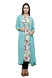 Ivory Printed Rayon Tunic with Sea Green Georgette Cape
