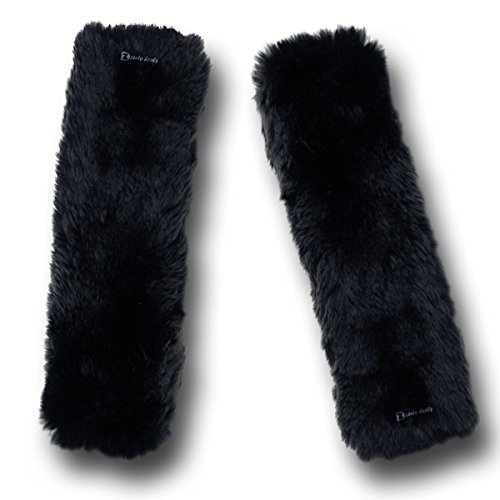 Zento Deals Soft Faux Sheepskin Seat Belt Black Shoulder Pad- Two Packs- A Must Have for All Car Owners for a More Comfortable Driving (Seat Belt Comforter compare prices)