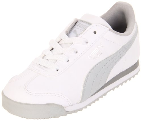 Puma Roma Basic Lace-Up Sneaker (Toddler/Little Kid/Big Kid),White/Grey/Puma Silver,9 M US Toddler