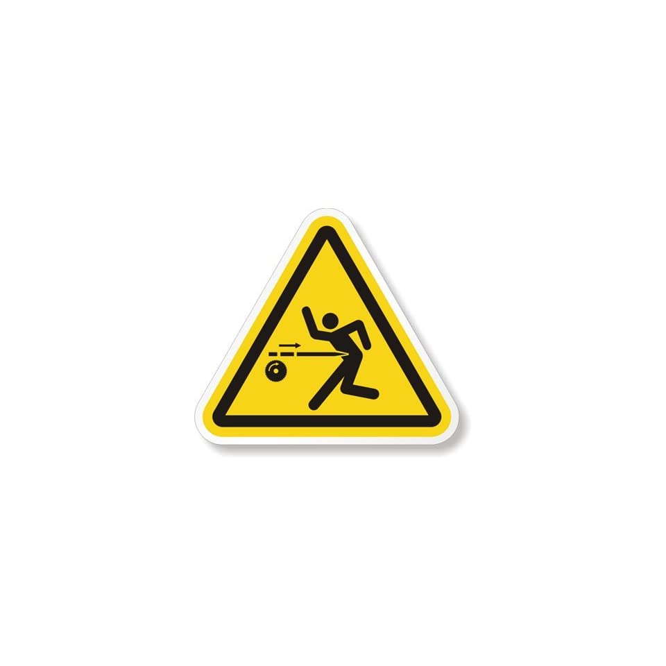 Kickback Hazard Symbol, Laminated Vinyl Labels, 0.838 x 0.75