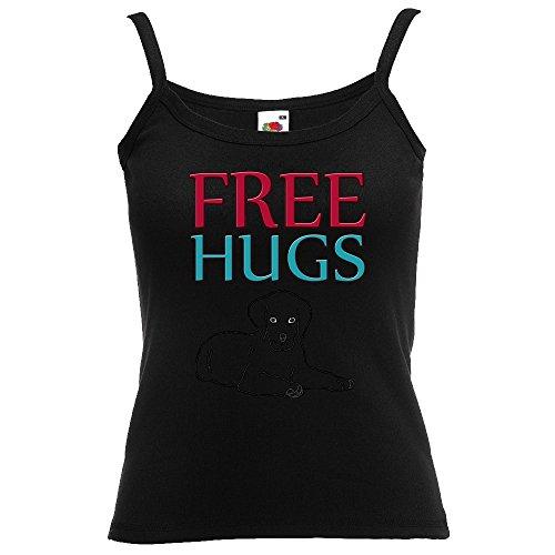 Divertente 058, Free Hugs, Nero Fruit of the Loom Women Strap Tee Cotone Top e Canotte Spalline Donna con Design Colorato. Taglia L.