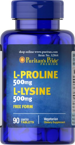 Puritan'S Pride L-Proline/L-Lysine 500 Mg / 500 Mg (Free Form)-90 Tablets