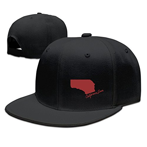 California Love Red Hip Hop Snapback Baseball Hat Cap One Size Black