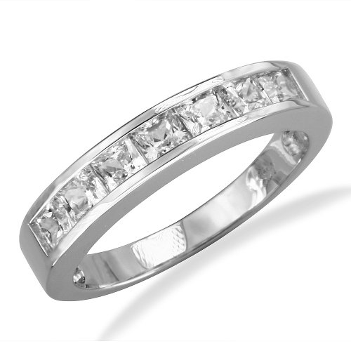 14K White Gold Channel Set Princess CZ Cubic Zirconia Bridal Wedding Anniversary Ring Band 1.25ct