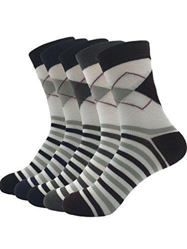 Zando da uomo misto Athletic Casual Argyle Stripe Over The Calf Calze vestito 5 Pairs Taglia Unica: 24 cm- 27 cm(Misura scarpa: 40-44)