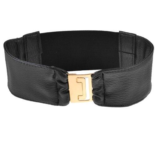 Woman Black Gold Tone Interlocking Buckle Elastic Waistband Cinch Waist Belt 7CM Width