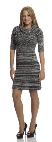 (13310R) Classic Designs Mix Yarn Sweater Dress in Black Combo Size: M