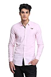 BRAVEZI Men's Pink Solid Casual Slim Fit Shirt
