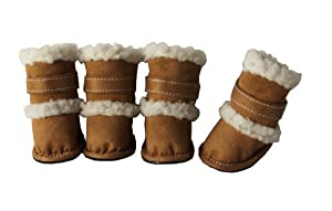 "Pet Life Shearling ""Duggz"" Dog Boots in Brown & White - X-Small"