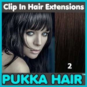 18 Inch (Darkest Brown #2) Clip In Remy Human Hair Extensions - 8 Piece Set - Full Head - Clips Attached - 100g Weight - Get the Celebrity Lush Look!!