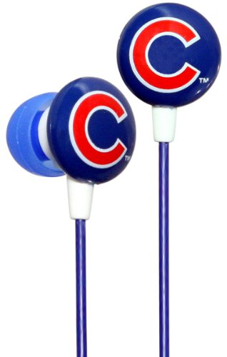 Ihip Mlf10169Chc Mlb Chicago Cubs Printed Ear Buds, Blue/Red
