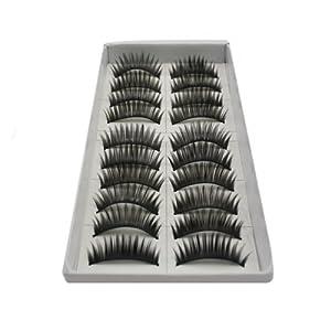 10 Pair Long Black False Eyelashes Eye Lashes Makeup