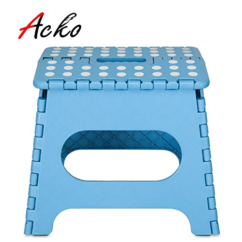 "Great Deal! Acko 9"" Sky Blue Folding Step Stool with Anti-Slip Surface for Kids and Adults with..."