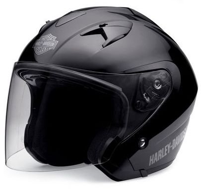 Harley-Davidson® Men's 3/4 Helmet with Retractable Sun Shield. Gloss Black-98210-10VM; Matte Black 98225-11VM