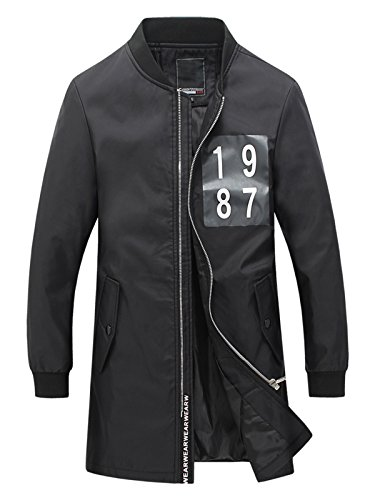 ICOOLYI Men's Long-Style Jacket & Stand Collar Casual Windbreaker (2XL, Black)