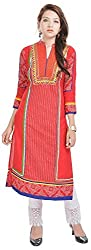 Geroo Women's Cotton Regular Fit Kurta (MKK-1530AZ, Red, M)