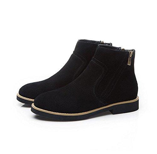 Stivali in pelle inverno casual piatto rotondo in Europa e nudo tubo Martin stivali stivali boots donna , black , 36