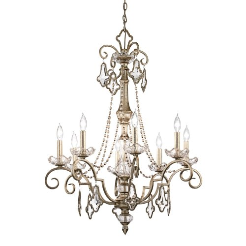 42116SRM Gracie 8LT Chandelier, Sunrise Mist Finish with Clear K9 Optical Crystal Accents