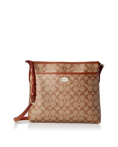 Coach Women's Signature File Messenger Cross-Body Bag, Khaki Saddle