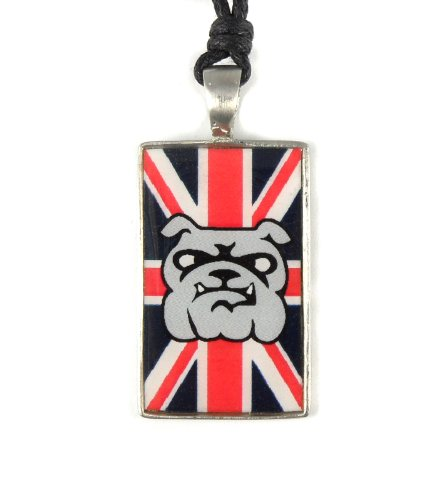 Urban HQ Pewter British Bulldog Union Jack Graphic Attitude Tag Pendant