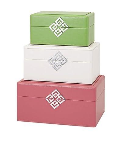 Set of 3 Georgi Boxes, Pink/White/Green