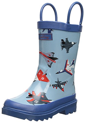 Hatley Little Boys' Rainboots Fighter Jets, Blue, 6 front-373060