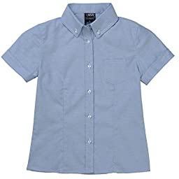 French Toast Short Sleeve Oxford Blouse With Darts Girls Blue 7