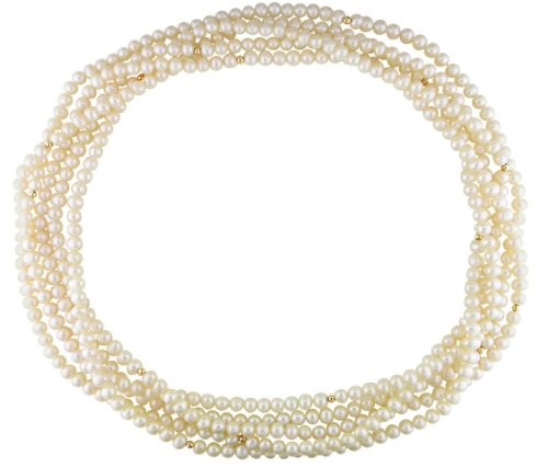 Freshwater Pearl Necklace with 14K Gold Beads, 100