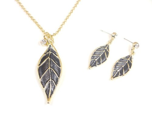 Black Leaf Pendant Necklace on Golden Chain and Earrings Set