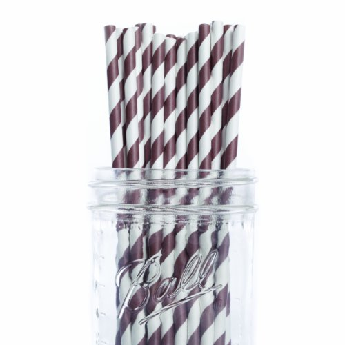 Dress My Cupcake 6-Inch Vintage Paper Cakepop Straws, Chocolate Brown Striped, Case Of 6200 front-13683